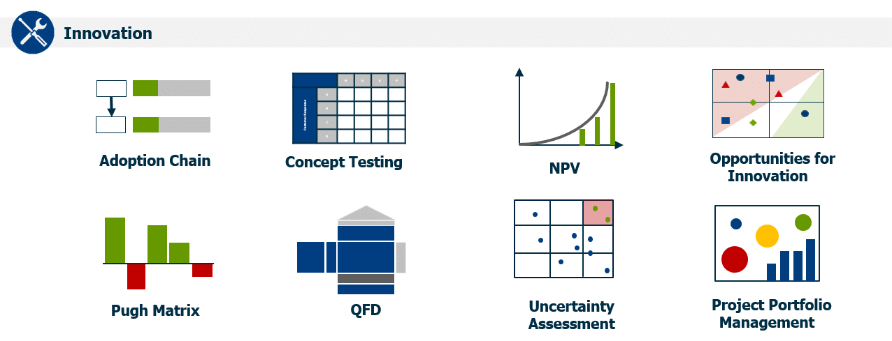 Market Edge Innovation Tools like Adoption Chain, Concept Testing , NPV, Oppotunities for Innovation, Pugh Matrix, QFD, Uncertainity Assessment, Project Portfolio Management
